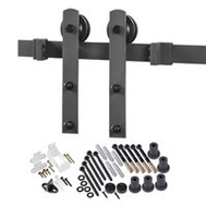 Renin BD100K-96 Decorative Straight Strap Interior Barn Door Hardware Kit 96 Inch Matte Black
