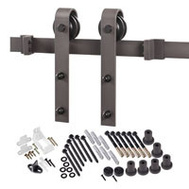Renin BD102K-96 Decorative Bent Strap Interior Barn Door Hardware Kit 96 Inch Antique Bronze