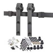 Renin BD102K-96 Decorative Bent Strap Interior Barn Door Hardware Kit 96 Inch Matte Black