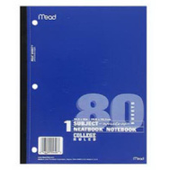 Mead 05626 80 Count College Ruled Neatbook Notebook