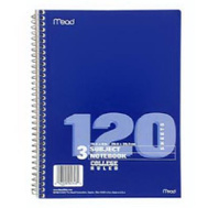 Mead 05748 Three-Subject College-Ruled Spiral Notebook
