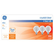 GE Lighting 44739 40 Watt Incandescent Globe Bulb G Shape Crystal Clear 3 Pack