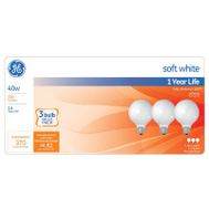 GE Lighting 44742 40w Wht Globe Bulb 3 Pack