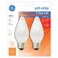 GE Lighting 75342 40 Watt White Flame Bulb