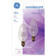 GE Lighting 48394 15 Watt Aura Descent Torpedo Shaped Flame Bulb Candelabra Base