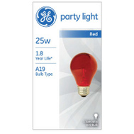 GE Lighting 49727 25 Watt Transparent Party Bulb Red