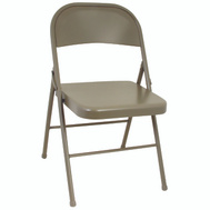 Cosco 14711ANT4 All Steel Folding Chair Antique Linen