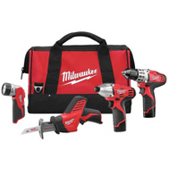 Milwaukee 2498-24 M12 Cordless 12 Volt Lithium-Ion 4 Tool Combo Kit