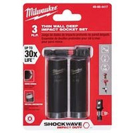 Milwaukee 49-66-4417 Shockwave Impact Duty Socket Set 3Pc 3/8In Dr