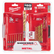 Milwaukee 48-89-4630 Shockwave Bit Imp Dty Hex Titnm Kit 15Pc