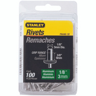 Stanley Tools PAA46-1B Aluminum Rivets 1/8 Inch X 3/8 Inch 100 Pack