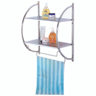 HomeBasix Y19-CH Wall Rack Chrome W-2 Shelves