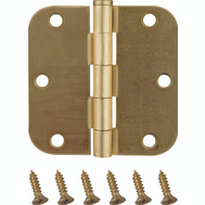 ProSource BH-102SB-PS Door Hinges 5/8 Radius 3-1/2 By 3-1/2 Inch Satin Brass 2 Pack