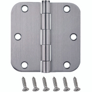 ProSource 20338SS-35RC-DB-P Door Hinges 5/8 Radius 3-1/2 By 3-1/2 Inch Brush Stainless Steel 2 Pack