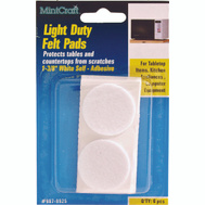 ProSource FE-50225-PS Pad Felt Light Duty Round 1-3/8 Inch White 6 Pack
