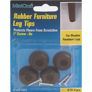 ProSource FE-50661-PS Bumper Screw Rubber 1 Inch Black 4 Pack