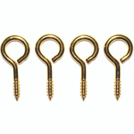 ProSource LR-242-PS Large Eye Screw Eyes 1-3/8 Inch #10 Solid Brass 4 Pack