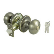 ProSource TF800V-PS Baron Keyed Entry Lockset 6 Way Latch Antique Brass KA3