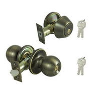 ProSource B38B1-PS Saturn Keyed Entry And Single Cylinder Deadbolt 6 Way Latch Antique Brass KA2
