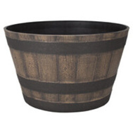 Landscapers Select PT-S022 Planter Barrel Dark Oak 20.5 Inch