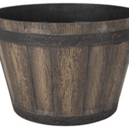 Landscapers Select PT-S056 Resin Planter Whiskey Barrel Weathered Oak