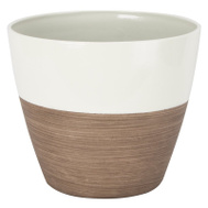 Landscapers Select PT-S067 Resin Planter Round Ivory Wood 8 Inch