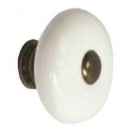 ProSource C133WH/AB35 Ceramic 1-3/8 Inch Cabinet Knob White With Antique Brass Center And Stem