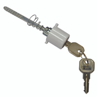 Mintcraft 58400-UW Round Plug Keyed Push Button Key Lock For Storm Doors White