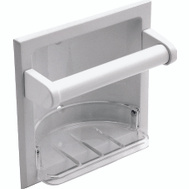 Boston Harbor L770H-51-07 Manhattan Recessed Soap Dish With Grab Bar White