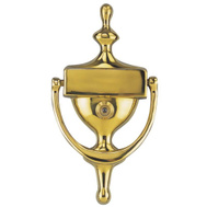 ProSource HR4004VPB Mintcraft Door Knocker With Viewer 7 Inch Solid Brass Polished Brass
