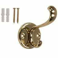ProSource H-032-PB Mintcraft Polished Brass Coat And Hat Hook