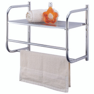 HomeBasix BR32-CH Chrome Wall Rack With Metal Shelf
