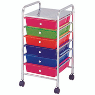 HomeBasix G006-CH 6 Drawer Storage Cart Chrome
