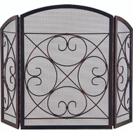 Simple Spaces CPO90502AC3L 3 Panel Antique Bronze Fire Screen