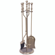 HomeBasix D51340AB3L Antique Brass Fireplace Tool Set