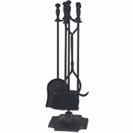 Simple Spaces T51030BK-C3L 5 Piece 31 Inch Ball Tip Black Fireplace Tools