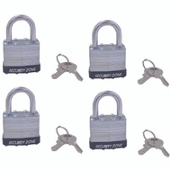 ProSource HD-3DX4-3L 1-1/2 Inch Steel Padlock With Bumper 4 Pack