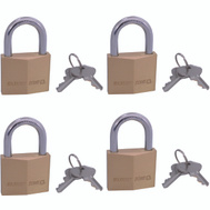ProSource HD-240DX4-3L 1-1/2 Inch Solid Brass Padlock 4 Pack