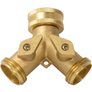 Landscapers Select GB9105A3L Garden Hose Brass Y Connector With Shut Off