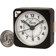 La Crosse 20078 Black Case Quartz Cube Alarm Clock