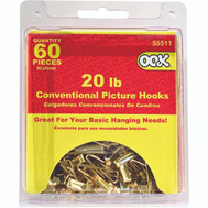 Hillman 55511 Ook 60 Piece 20 Pound Pic Hook Pack