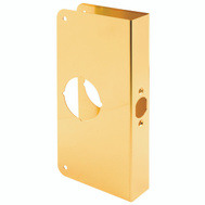 Prime Line U9547 Lock And Door Reinforcer 2-3/8 Backset 1-3/8 Thickness 3-7/8 Deep 9 Inch High Brass Finish