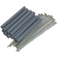 Amerimax 15044 Galvanized Spikes 7 Inch With 4 Inch Black Plastic Ferrules 10 Pack