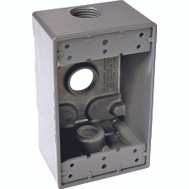 Hubbell 5324-0 Bell 1 Gang Aluminum 3 Outlet Box Gray 3/4 With Lugs