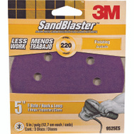 3M 9525 Sand Blaster 5 Inch 8 Hole Hook And Loop Sanding Discs 220 Grit Very Fine 3 Pack