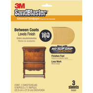 3M 20180G Sand Blaster Sandpaper Between Coats 9 Inch By 11 Inch 180 Grit, 3 Pack