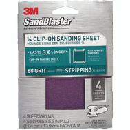3M 9660SB-ES Sand Blaster Palm Sander Sheets Clip On 4-1/2 Inch By 5-1/2 Inch 60 Grit, 4 Pack