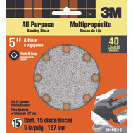 3M 99148 Hookit 5 Inch 8 Hole Hook And Loop Sanding Discs 40 Grit Extra Coarse 15 Pack