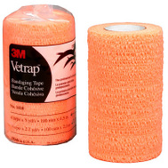 3M 1410BO Vetrap Bandaging Tape 4 Inch By 5 Yard Rolls Orange