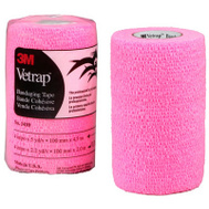 3M 1410HP Vetrap Bandaging Tape 4 Inch By 5 Yard Rolls Pink